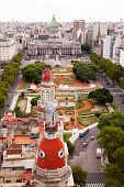 BUENOS AIRES, ARGENTINA - MAR 17 2014 : Traffic moves round the Plaza de Congreso