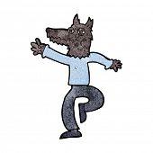 cartoon happy wolf man