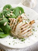 grilled cuttlefish with fresh spinach salad