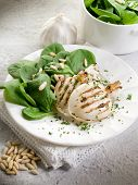 picture of cuttlefish  - grilled cuttlefish with fresh spinach salad - JPG