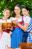 In Beer garden - female friends in Tracht, and Dirndl in Bavaria, Germany