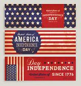 American Flag Banners Set with Independence Day Labels for Holiday Design.