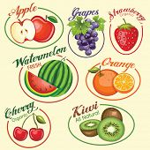 Set of fruits vector icons and illustration