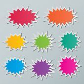 stock photo of starburst  - set of blank colorful paper starburst speech bubbles - JPG