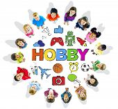 Multi-Ethnic Children Forming a Circle with Hobby Concept