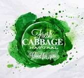 Cabbage watercolor poster