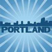 Portland skyline reflected with blue sunburst vector illustration