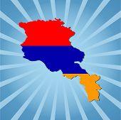 Armenia map flag on blue sunburst vector illustration