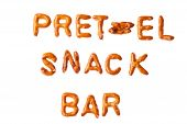 Alphabet Pretzel Words Pretzel Snack Bar Isolated