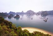 Warm sun light in Halong Bay Vietnam at sunrise. Panoramic landscape view