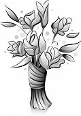 Icon Illustration Featuring a Bouquet of Flowers Drawn in Black and White