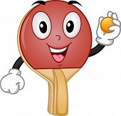 Mascot Illustration of a Table Tennis Racket Holding a Ball