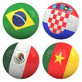 3D soccer balls with group A teams flags