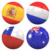3D Soccer Balls With Group B Teams