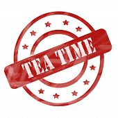 Red Weathered Tea Time Stamp Circles And Stars