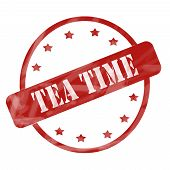 Red Weathered Tea Time Stamp Circle And Stars