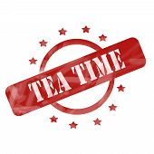 Red Weathered Tea Time Stamp Circle And Stars Design