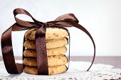 Stack Of Apple Chip Cookies Taped With Silk Ribbon