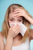 foto of rhinitis  - Flu cold or allergy symptom - JPG