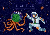 Alien And Cosmonaut Making High Five