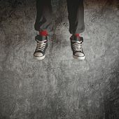 Young Man In Sneakers Jumping