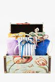 Gift Box With Decorative Textile Pouches