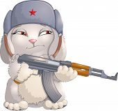 image of cap gun  - serious hare in a fur cap with the machine gun in paws - JPG