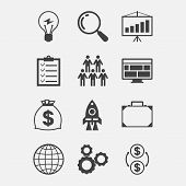 Start-up icon set in flat design style.