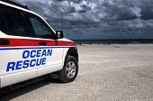 Ocean rescue vehicle on the lookout on the beach