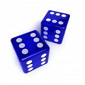 Two blue, semi-transparent dice with the number six on them over white background
