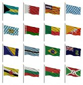 National flags with the letter B - Bahamas, Bahrain, Balearic Islands, Bavaria, Belarus, Benin, Bhut