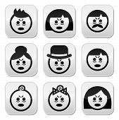 Tired or sick people faces icons set