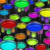 Many paint buckets with various colored paint