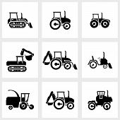 Vector icon set tractors and kombain