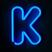Highly detailed neon sign with the letter K