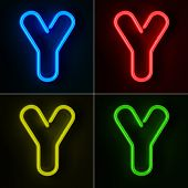 Highly detailed neon sign with the letter Y in four colors