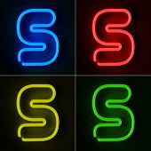 Highly detailed neon sign with the letter S in four colors