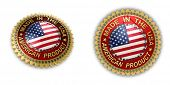 Two shiny seals with Made in the USA text on them over white background