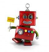 Little happy vintage toy robot holding a party sign over white background