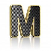 The letter M as a perforated metal object over white