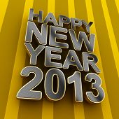 Happy New Year 2013 metal text over striped background