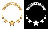 Excellence award with five stars with alpha matte for easy isolation