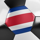 Close up view of a soccer ball with the Costa Rican flag on it