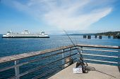 stock photo of sounding-rod  - Washington State Ferry crossing Puget Sound north of Seattle into Edmonds - JPG