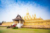 Golden Wat Thap Luang In Vientiane, Laos