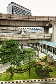Multilevel Bangkok With Road For Car Transport, Pedestrian Way And Skytrain Tracks