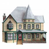 image of victorian houses  - 3D digital render of a beautiful Victorian winter house isolated on white background - JPG