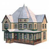 picture of victorian houses  - 3D digital render of a beautiful Victorian winter house isolated on white background - JPG