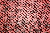 Red Old Tiles Roof In The Temple.