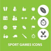 sport signs: games, fitness icons set, vector